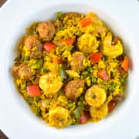 Paella Inspired Shrimp and Chorizo Dish