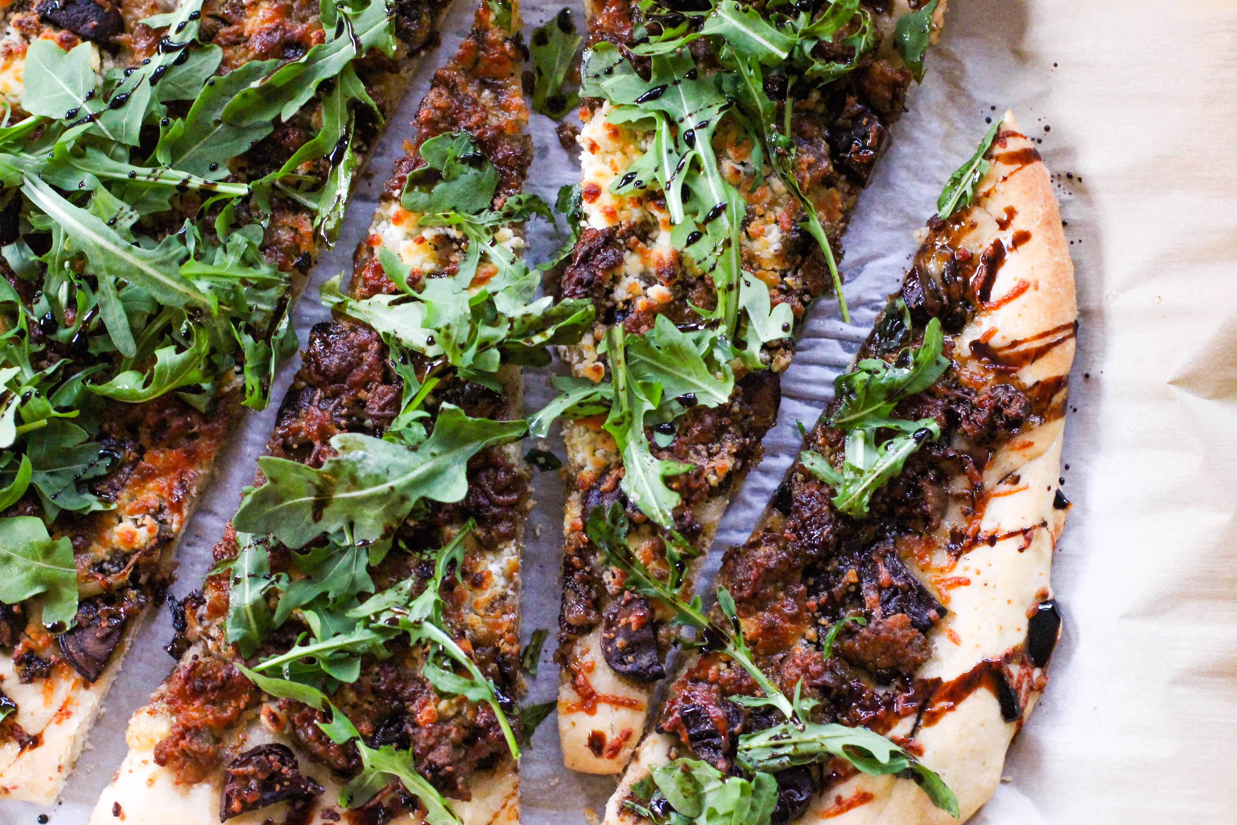 Rustic Pizza with Goat Cheese and Balsamic Reduction