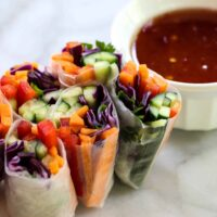 Veggie Spring Rolls with Sweet Chili Sauce