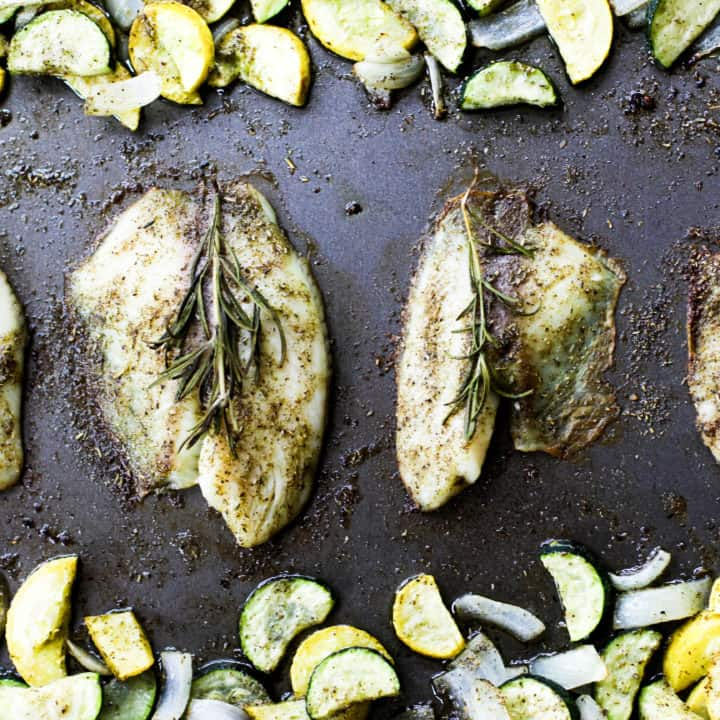 One Pan Herbed Tilapia and Squash