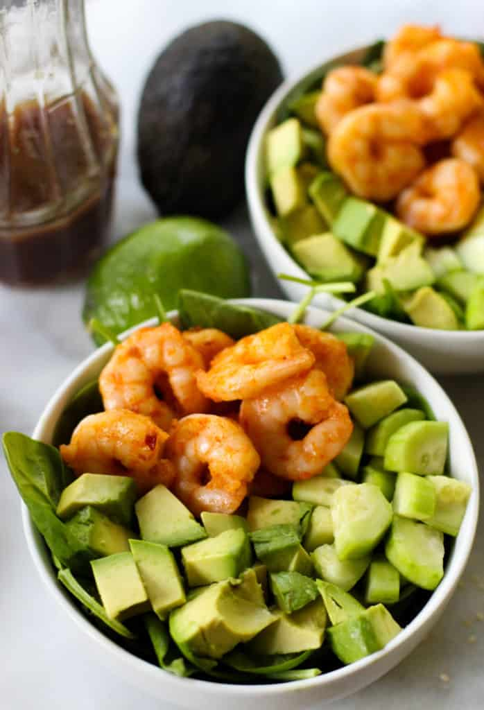 This Spicy Shrimp Salad with Lime Sesame Dressing is so refreshing and simple to throw together!