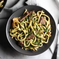 Steak and Udon Noodle Salad with Chimichurri Sauce