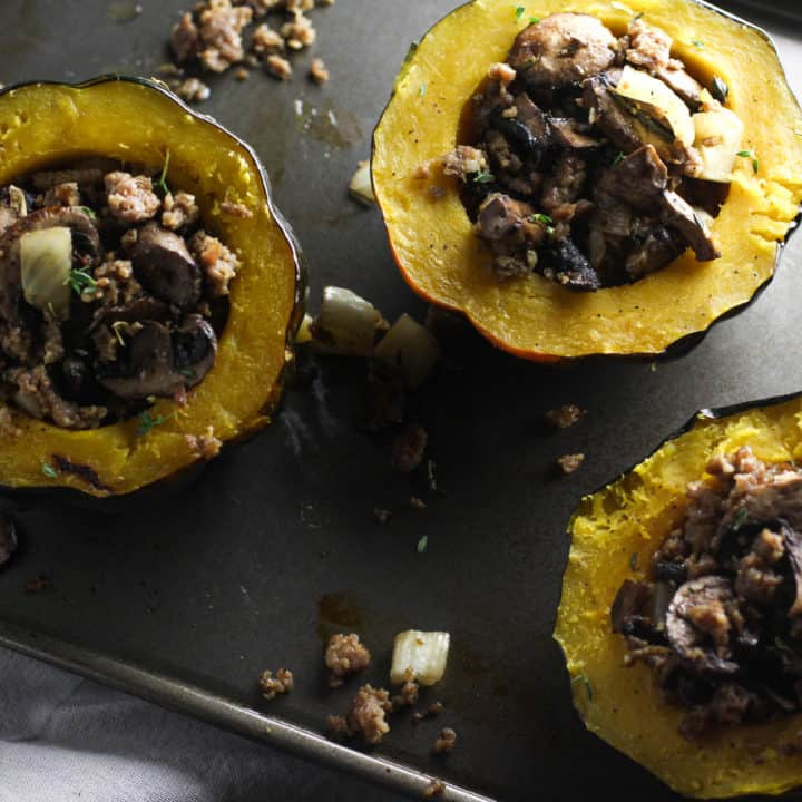 Roasted Acorn Squash with Sausage, Fennel, and Mushrooms