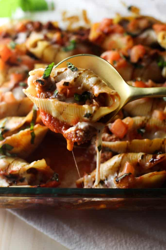 These Sausage Caprese Stuffed Shells are full of flavor and easy to make!