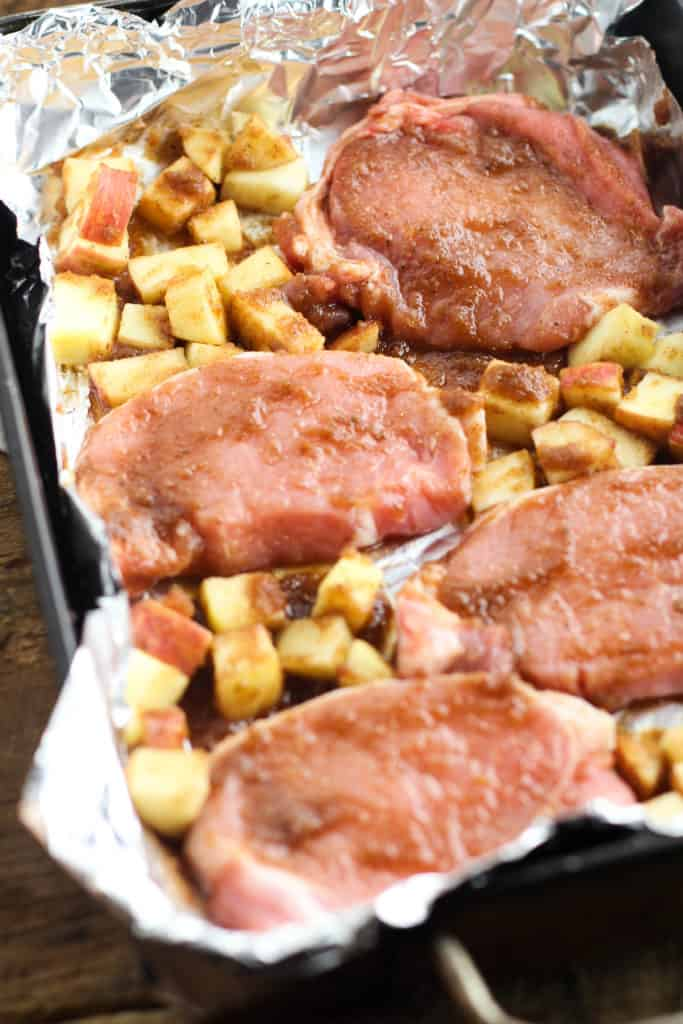 These Apple Pie Pork Chops are full of decadent dessert flavors, but are so easy to make!