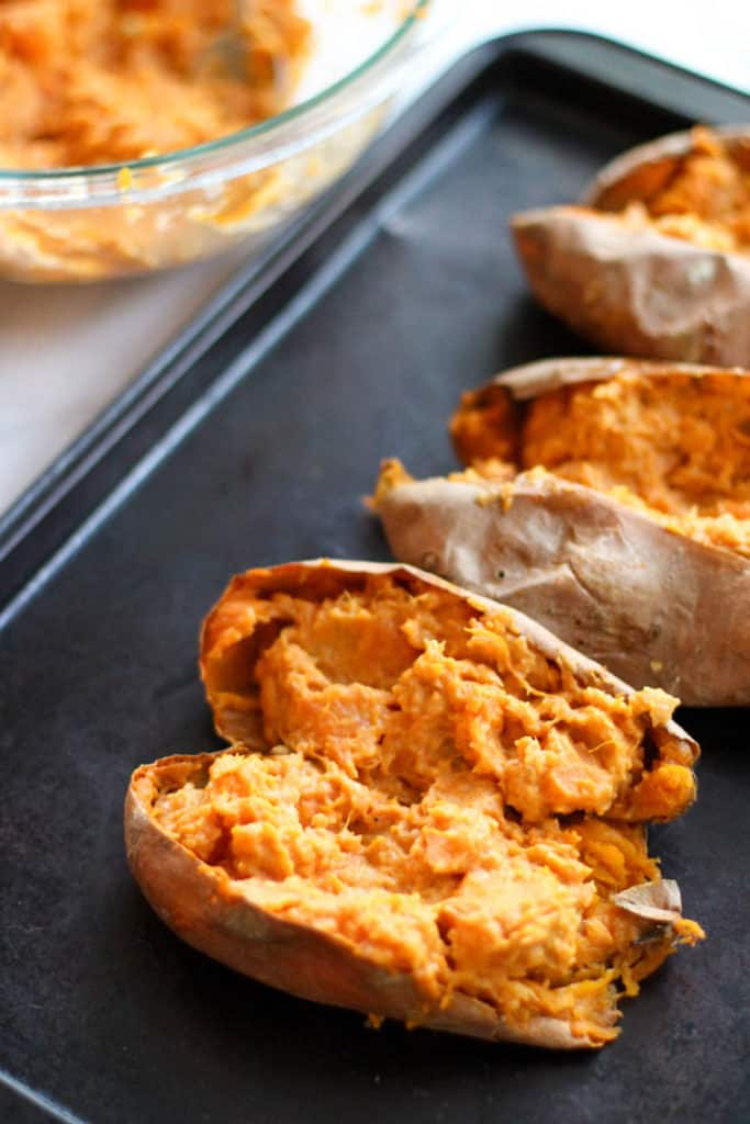 These Twice Baked Sweet Potatoes are easy to make and so delicious! It's basically eating dessert for dinner!
