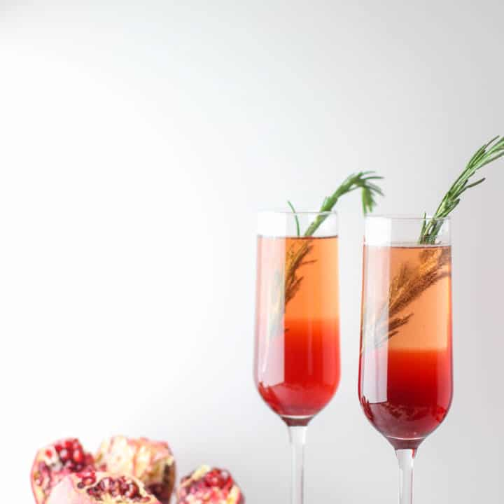 This Pomegranate Rosemary Spritzer is a fruity and earthy take on a typical toast!