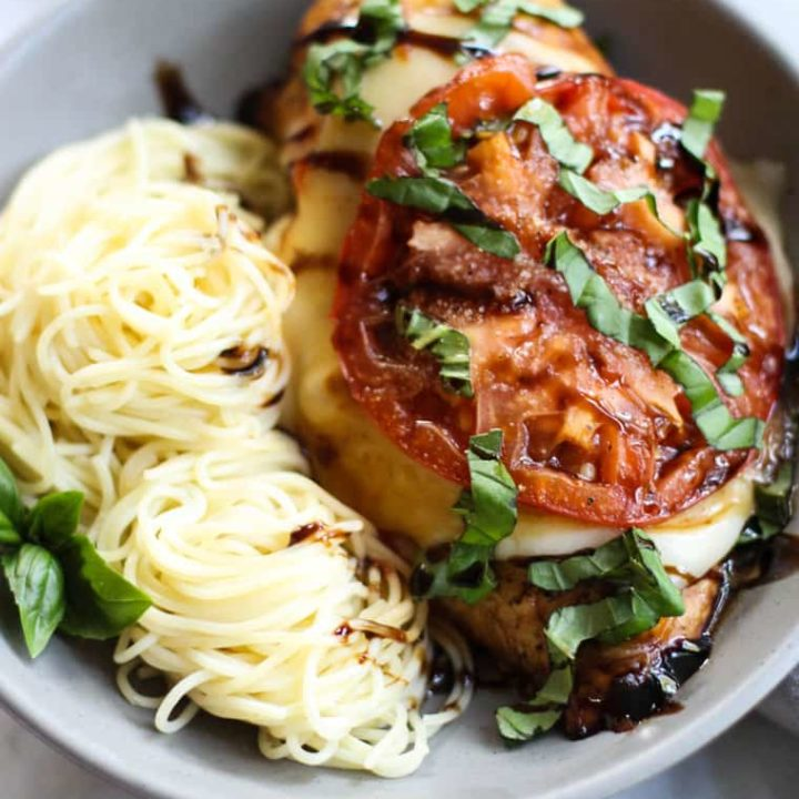 This Baked Chicken Caprese is full of bright summery flavors and is so easy to throw together!