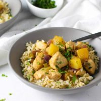 These Pineapple Chicken Meal Prep Bowls are flavorful and perfect to prep for the week!
