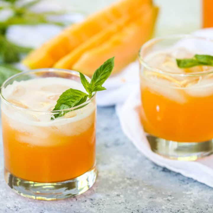 This Cantaloupe Basil Cooler is light, refreshing, and summer in a glass!
