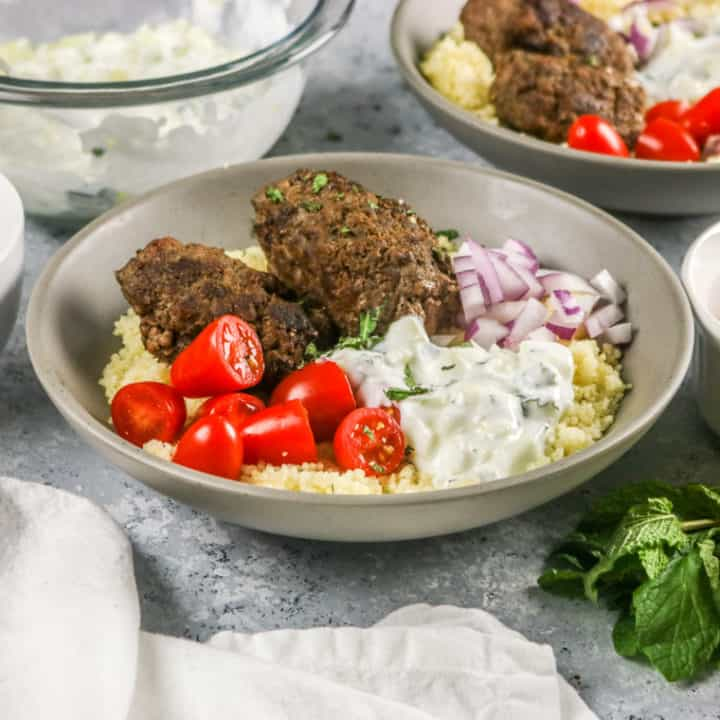 These Aussie Ground Lamb Kofta Bowls are so easy to make and full of flavor!