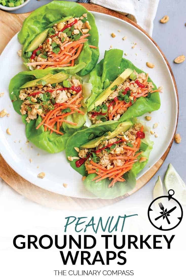 These Peanut Ground Turkey Wraps are so easy to throw together and full of flavor!