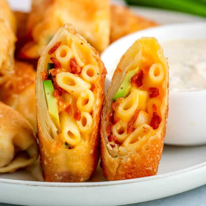 Avocado, Bacon, Mac and Cheese Egg Rolls