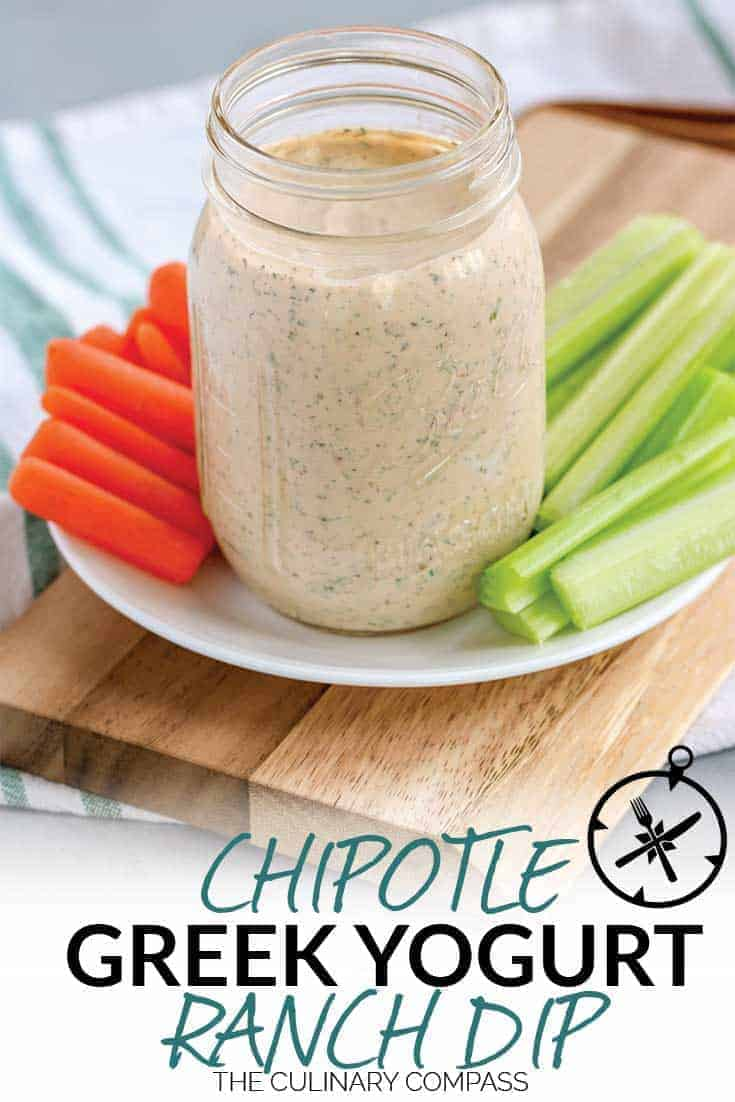 This Chipotle Greek Yogurt Ranch Dip is so easy to throw together and is a guilt free dip for any snack or salad!