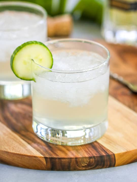 This Cucumber Vodka Elderflower Cocktail is perfect for hot summer nights to keep cool. St. Germain adds a perfect balance to the crisp flavors of cucumber and lime.