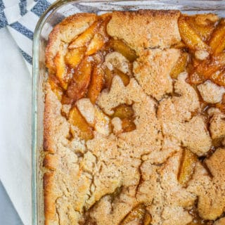If you're looking for a recipe for an easy peach cobbler with fresh peaches, look no further! This easy peach cobbler recipe is one that my family has been making forever.