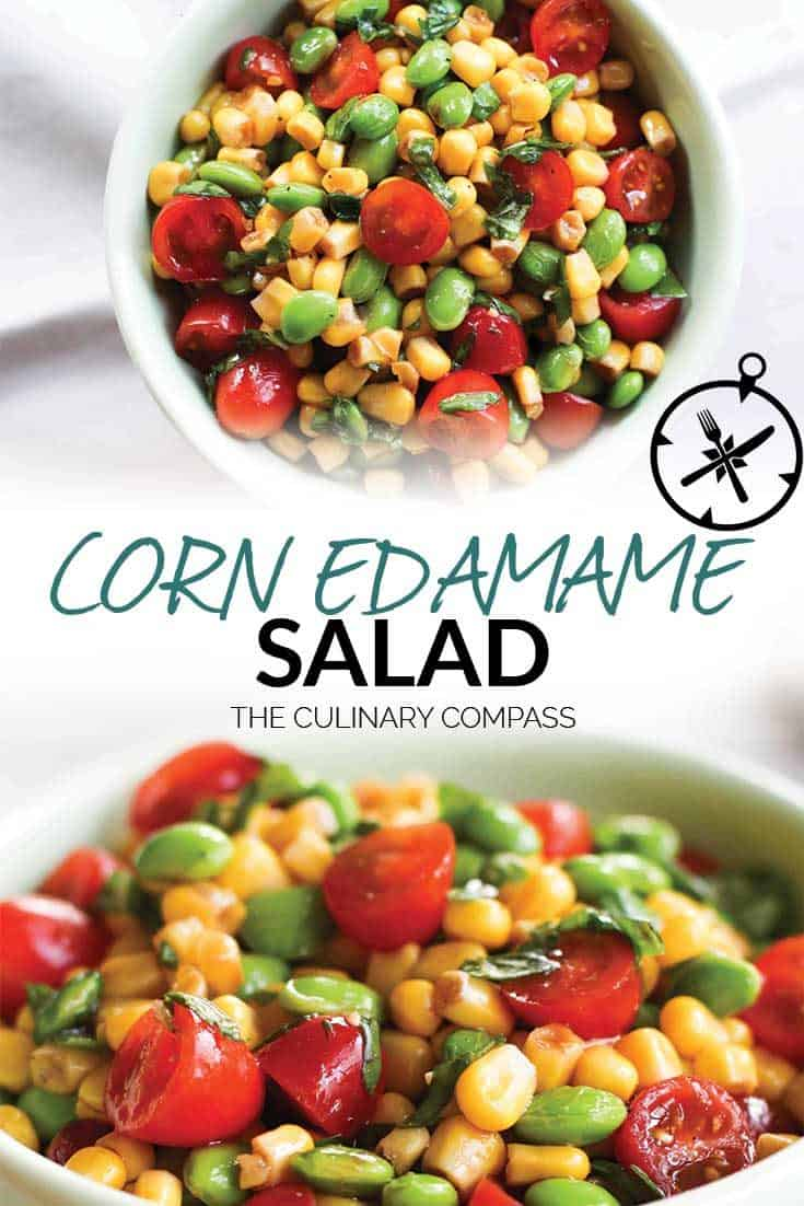 This Corn Edamame Salad with Balsamic Vinaigrette is a great side dish for warm days since there is no cooking involved! Use fresh basil, tomatoes and sweet corn to make a great summer salad. #cornedamamesalad #edamamesalad