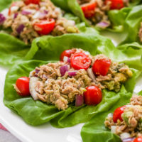 a close up image of the tuna avocado lettuce wraps