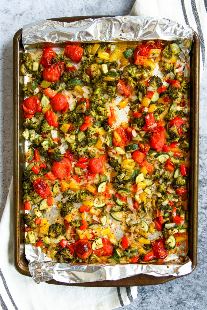 a sheet pan of roasted vegetables