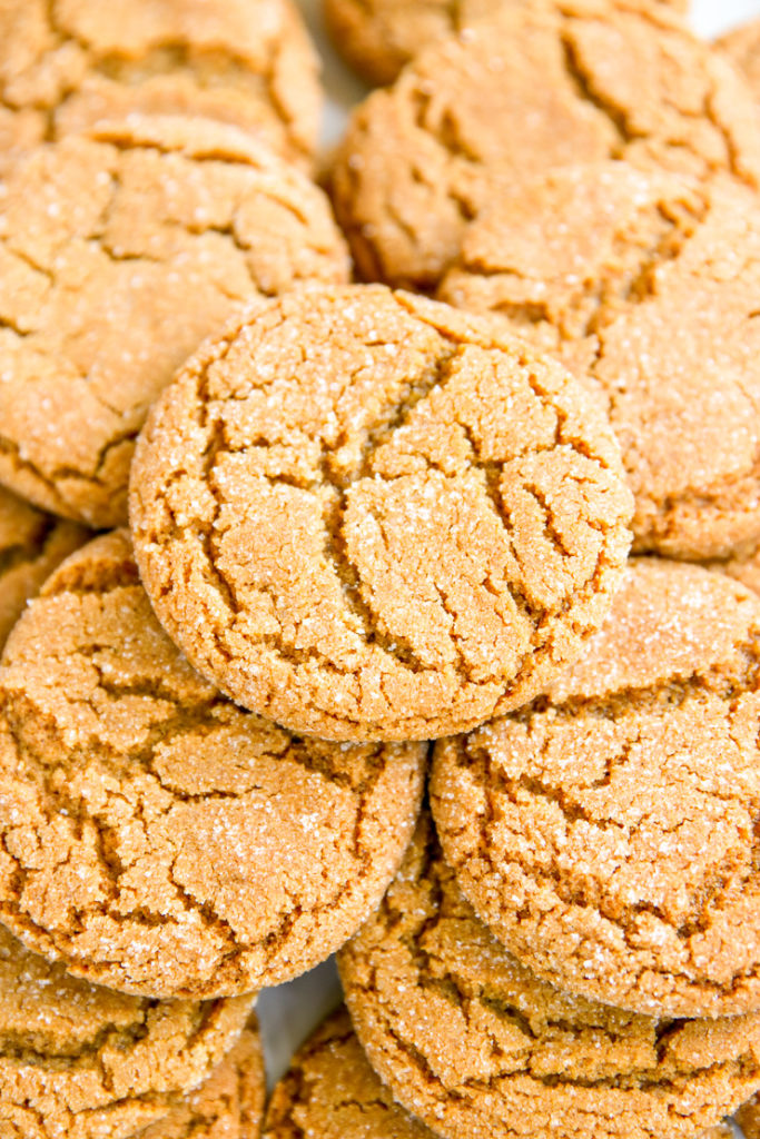 a close up of a ginger snap covered in sugar