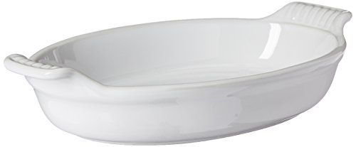"Le Creuset Stoneware Heritage Oval Au Gratin, 1 qt. (9.5""), White"