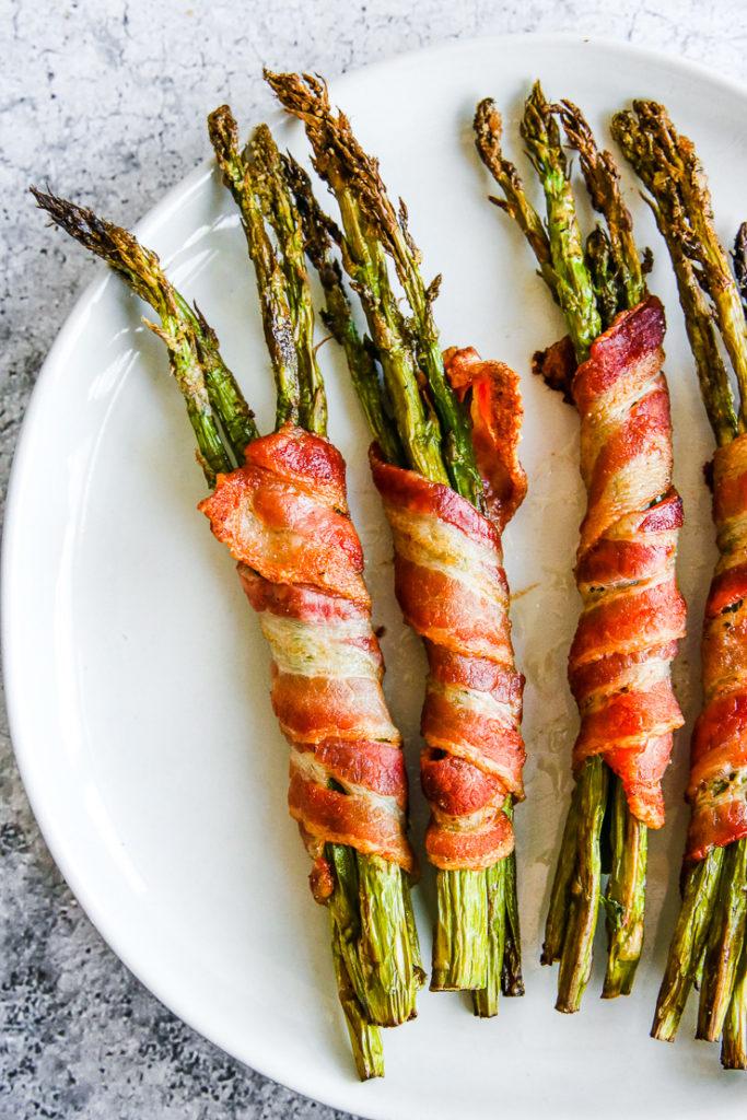 four air fryer bacon wrapped asparagus bundles
