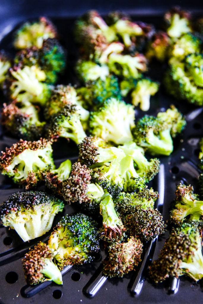 air fried broccoli in the air fryer basket