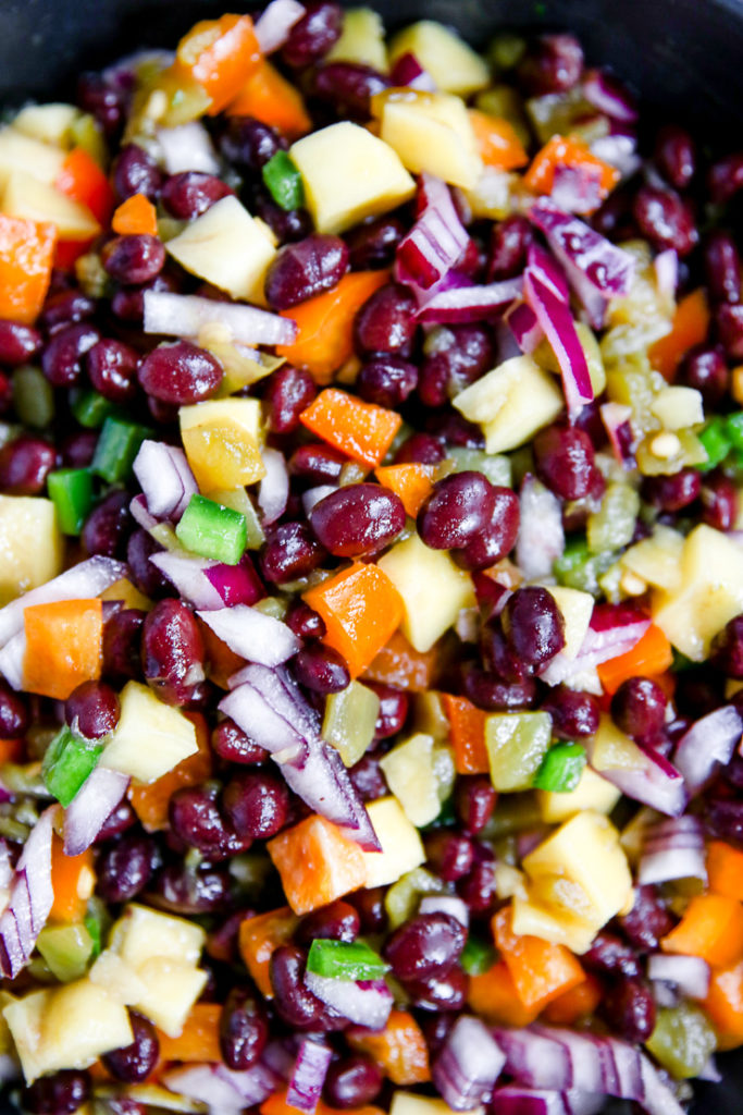 a close up of mango black bean salsa