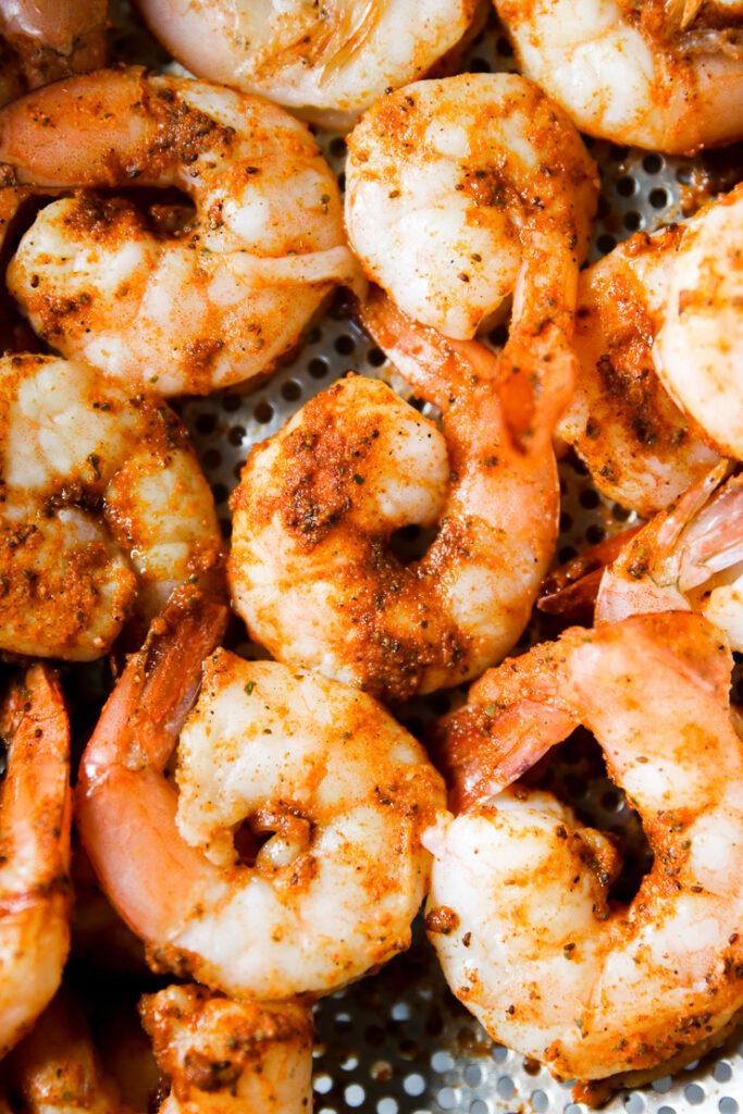 steamed shrimp on a steam basket